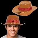 Brown Plastic Cowboy Hat with Red Paisley Band