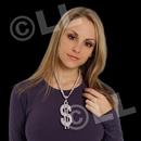 24'' Jumbo Silver $ Sign Metallic Silver Necklace