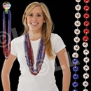 36'' Red-Silver-Blue (7mm) Bead Necklace